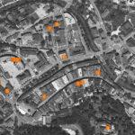 Überblickskarte über die Standorte des Brunecker Stadtarchivs.